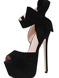 Mujer-Tacón Stiletto-Confort Innovador Zapatos del club Light Up Zapatos-Sandalias-Boda Vestido Fiesta y Noche-Ante-Negro Rojo