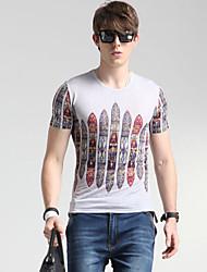 Herren Geometrisch Street Schick Lässig/Alltäglich T-shirt,Rundhalsausschnitt Frühling Kurzarm Mehrfarbig Seide Dünn