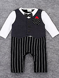 Baby Casual/Daily Solid Striped One-Pieces,Rayon Spring Fall Long Sleeve