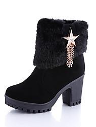 Women's Heels Fall Winter Other Fleece Office & Career Casual Chunky Heel Feather Chain Black Yellow