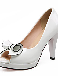 Women's Sandals Spring Summer Fall Comfort Patent Leather Wedding Dress Party & Evening Chunky Heel Flower Black White Walking