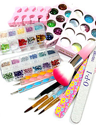 10Sets Tools 12 Color Glitter 12 Color Laser Flash Powder 12 Color Carve Patterns  Designs On Woodwork Powder 100Pcs Nail Tips