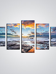 Unframed Sunrise Picture Print  Modern Wall Art  Seascape Painting  for  Home Decoration (Total size 100cm L x50cm H  by 5pcs)