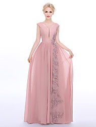 Formal Evening Dress Sheath / Column Jewel Floor-length Chiffon Charmeuse with Appliques Beading