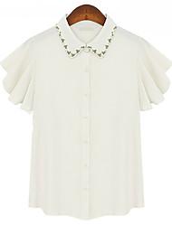Spot 2014 summer new European and American beaded collar butterfly sleeve shirt female wild on the diamond