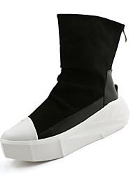 Men's Boots Spring Fall Winter Comfort PU Casual Low Heel Zipper Black White Walking