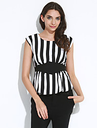 Women's Going out Sophisticated Summer BlouseStriped Round Neck Short Sleeve Black Polyester Medium