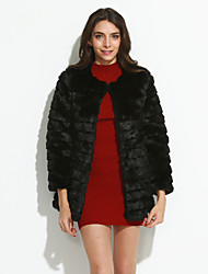 Women's Fashion Faux Fur Collarless Long Sleeve Coat