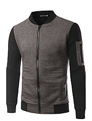 Men's Casual/Daily Simple Jackets,Color Block Stand Long Sleeve Fall White Black Gray Cotton Medium
