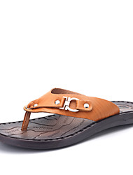 2017 New Arrival Men's Slippers & Flip-Flops Comfort Leather Shoes Casual Flat Heel Light Brown / Dark Blue Walking