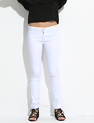 Women's Solid White Jeans PantsVintage