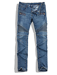 Men's Straight Jeans Pants,Casual/Daily Vintage Solid Low Rise Zipper Rayon Micro-elastic Spring
