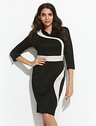 Women's Casual/Daily Sexy / Simple Slim Sheath Pencil DressColor Block Round Neck Maxi  Sleeve