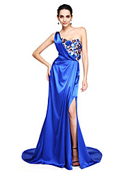 TS Couture Formal Evening Dress - Furcal A-line One Shoulder Court Train Stretch Satin with Appliques Split Front Sequins Pleats