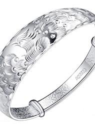 Feminino Bracelete Prata de Lei Moda Formato Animal Pavão Prata Jóias 1peça