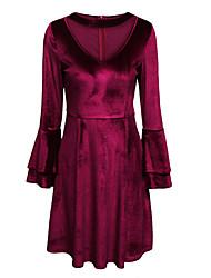 Trapèze Robe Femme Décontracté / Quotidien Chic de Rue,Couleur Pleine Col en V Mi-long Manches Longues Rouge Coton PolyesterPrintemps