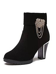 Women's Boots Fall Winter Other Fleece Office & Career Casual Chunky Heel Chain Black