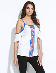 Women's Print White T-shirt , Round Neck Short Sleeve