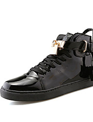 Men's Sneakers Spring Fall Comfort PU Outdoor Casual Flat Heel Magic Tape Black Pink Silver