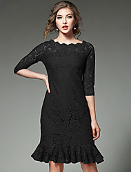 Women's Formal Work Sophisticated Lace Dress,Solid Lace Boat Neck Above Knee ¾ Sleeve Polyester Red Black Spring Mid Rise Inelastic