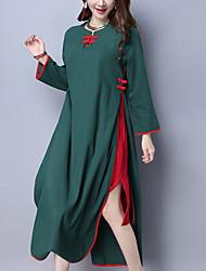 Ample Robe Femme Décontracté / Quotidien Vintage Chinoiserie,Mosaïque Col Arrondi Maxi Manches Longues Noir Vert PolyesterPrintemps
