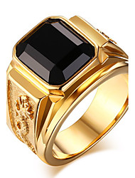 Men's Fashion 316L Titanium Steel Personality Vintage Gold Plating Onyx Jewel Agate Rings Casual/Daily 1pc