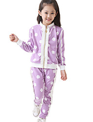 Girl's Cotton Fashion Spring/Fall Going out Casual/Daily Floral Print Long Sleeve Jacket Coat & Pant Two-piece Set Sport Suit
