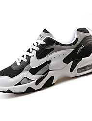 Men's Athletic Shoes Spring Fall Comfort PU Outdoor Flat Heel Black and White Navy Blue