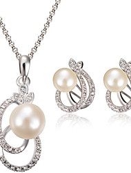 Women Wedding Bridal Silver Pearl Leaf Shape of the Clavicle Chain Necklace Earrings Two-piece