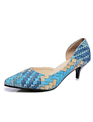 Women's Heels Spring Other PU Casual Low Heel Plaid Blue Pink Coffee Orange Other