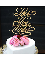 Linden Wood Wedding Cake Topper with Lettering to Say Love You More