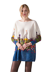 Hepswing Women Long Sleeve Batwing Casual Sweaters Fashion Spring Autumn Printed Graffiti Wool Loose Dresses Clothing