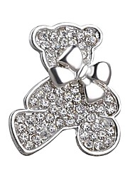 Lovely Bear Full Crystal Shining Bow Brooch for Women Girl