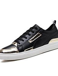 Herren-Sneaker-Büro Lässig Sportlich-Kunstleder-Flacher Absatz-Andere-Schwarz Weiß Gold Schwarz und Gold