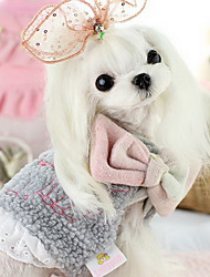 Dog Coat White Pink Gray Dog Clothes Winter Cartoon Cute