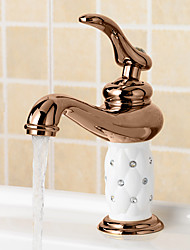 Rose Gold Bathroom Faucet Brass Bathroom Faucet Single Handle Hot And Cold Water Tap Deck Mounted Mixer Tap