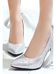 Women's Heels Spring Summer Fall Other PU Wedding Dress Casual Stiletto Heel Rhinestone Red Silver Gold