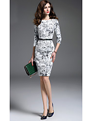 Women's Going out Formal Sophisticated Bodycon Dress,Print Round Neck Knee-length ¾ Sleeve Cotton White Spring Summer Mid Rise