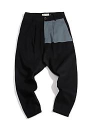 Hommes Petites Tailles Ample Chino Joggings Pantalon,simple Vintage Décontracté / Quotidien Sportif Couleur Pleine Taille Normale Cordon