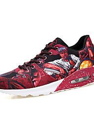 Homme Chaussures d'Athlétisme Confort Toile de jean Printemps Automne Décontracté Confort Lacet Talon Plat Noir Rouge 5 à 7 cm