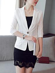 Women's Work Simple Blazer,Solid Notch Lapel Short Cotton Linen Polyester