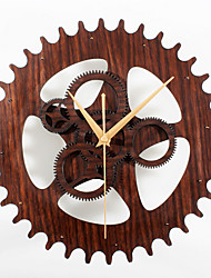 Retro Wood Gear Mute Wall Clock