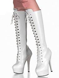 Women's Boots Spring Summer Fall Winter Comfort Novelty PU Outdoor Party & Evening Dress Stiletto Heel Button Zipper Lace-upBlack Pink