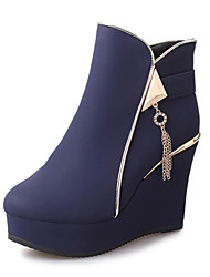 Women's Heels Fall Winter Other PU Office & Career Casual Party & Evening Wedge Heel Chain Hook & Loop Black Blue Red