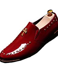 Men's Flats Spring / Fall Comfort PU Casual Flat Heel Slip-on Black / Brown / Red