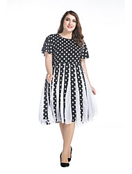 SWEET CURVE Women's Plus Size Street chic Chiffon Dress,Polka Dot Round Neck Knee-length Short Sleeve Black Spandex Spring Mid Rise Micro-elastic