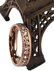 Anéis Diário Casual Esportes Jóias Aço Titânio Feminino Anel 1peça,5 6 7 8 Ouro Rose