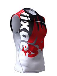 Men's Running Tank Sleeveless Breathable Compression Vest/Gilet Top for Exercise & Fitness Running Spandex Tight Jacinth +Gray M L XL XXL