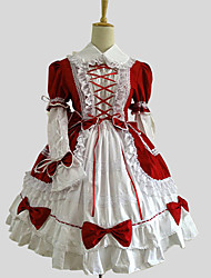One-Piece/Dress Sweet Lolita Princess Cosplay Lolita Dress Solid Long Sleeve Knee-length Dress For Cotton