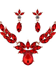 Women Wedding Bridal Ornament Flower Red Crystal Butterfly Earrings Necklace Set Sweater Chain Accessories